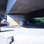 Neckar Ufer Heidelberg Autobahnbrücke Windhof Graffiti
