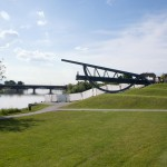 Neckar Ufer Ladenburg Am Neckardamm Halbe Brücke